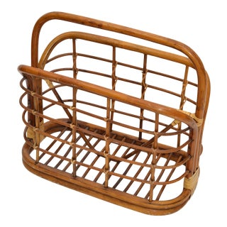 Bohemian Mid-Century Modern Handcrafted Bamboo & Cane Magazine Rack American 70s For Sale
