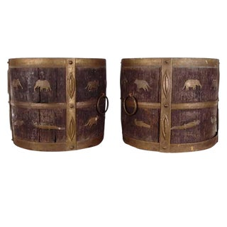 1930s Antique Oak & Brass Jardinieres - a Pair For Sale