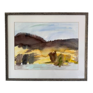 Vintage Abstract Landscape Watercolor For Sale