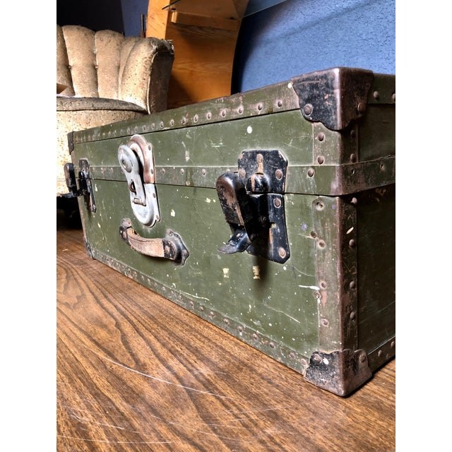 Green Vintage P & S Co. Military Footlocker With Contrasting Metal Hardware and Leather Handle For Sale - Image 8 of 12