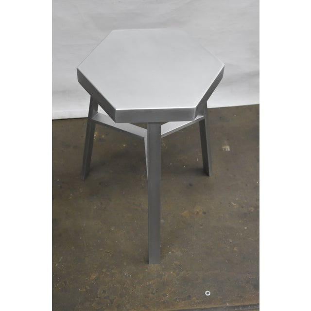 Art Deco Oblik Aluminum Low Stool For Sale - Image 3 of 4