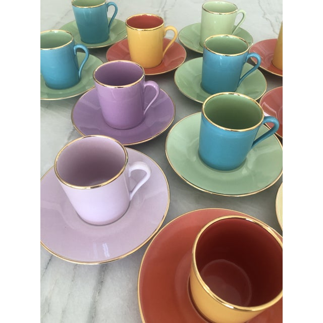 Metal Multi-Colored Apilco Demitasse / Espresso Cups by Yves Deshoulieres, Made in France - Set of 12, 24 Pieces For Sale - Image 7 of 10