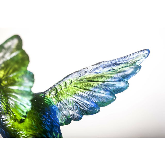"""Contemporary Liuli Crystal Art Crystal Hummingbird, """"Victory by Daybreak"""" Sculpture (Limited Edition) For Sale - Image 3 of 8"""