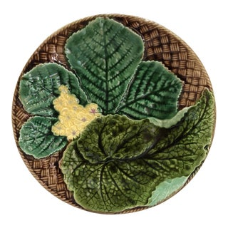 French Majolica Leaves Plate Clairefontaine, Circa 1890 For Sale