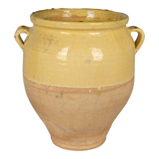 French Yellow Glazed Terracotta Confit Pot or Vase For Sale