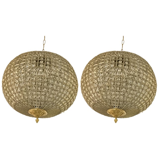 Globe Pendant Chandeliers - A Pair For Sale