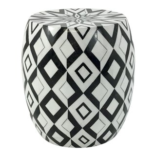 Made Goods Black and White Caspian Marble Stool For Sale