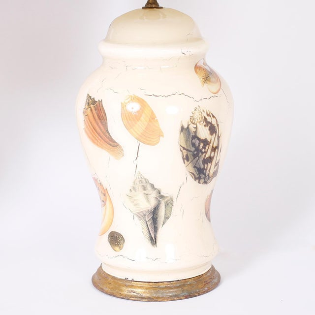 Mid-Century Modern Decoupage Sea Shell Table Lamps - A Pair For Sale - Image 3 of 9