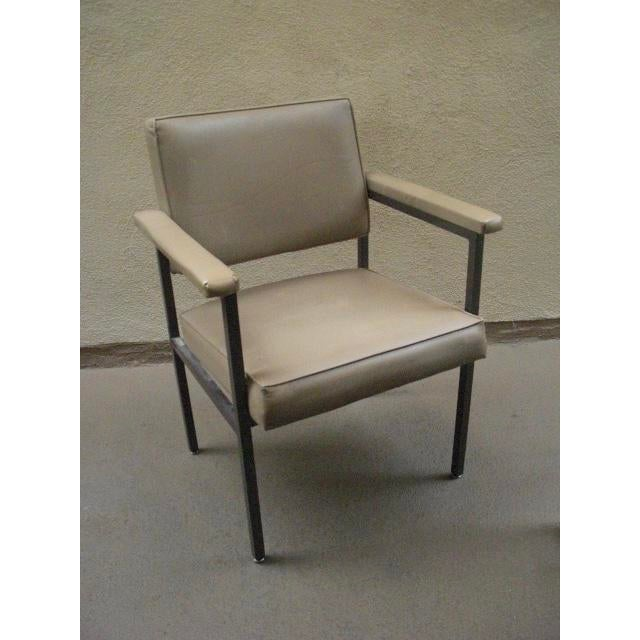 White Mid-Century Modern Reupholstered Striped Steelcase Armchair For Sale - Image 8 of 9
