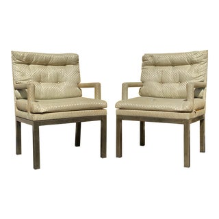 Brass Finish Upholstered Mastercraft Armchairs - a Pair For Sale