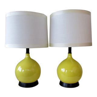 Yellow Crackle Glaze Lamps, a Pair For Sale