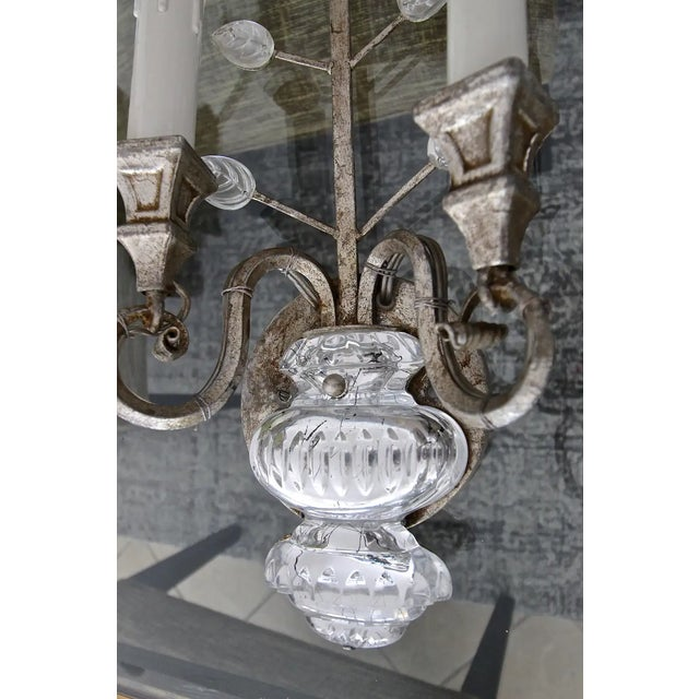 Metal Banci Crystal Silver Gilt Flower Wall Sconces - a Pair For Sale - Image 7 of 13