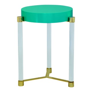 Maxwell Teal & Brass Table For Sale