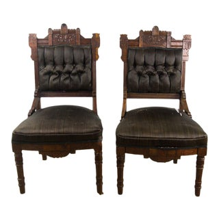 Antique Victorian Eastlake Black Slipper Chairs - a Pair