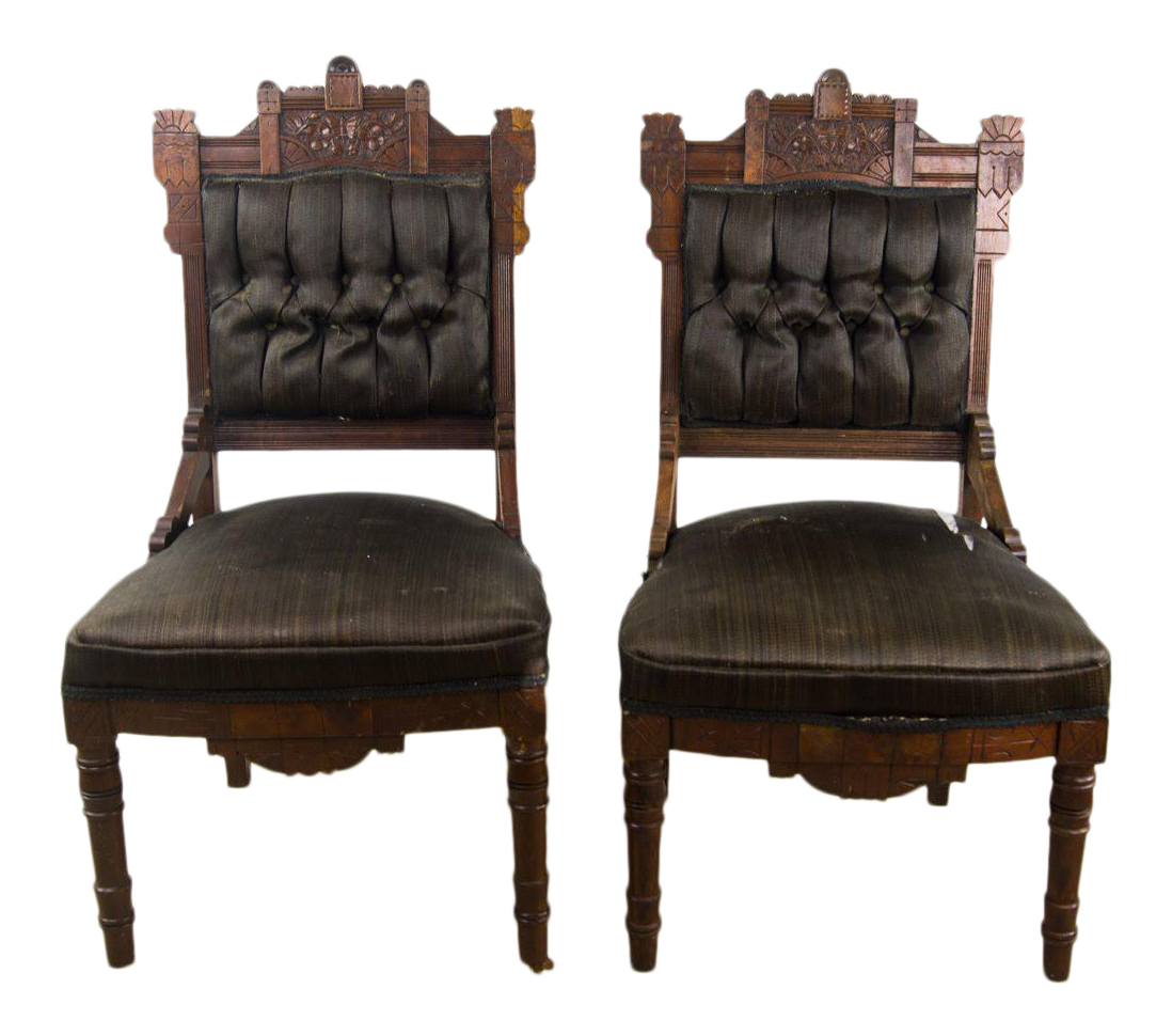 Antique Victorian Eastlake Black Slipper Chairs   A Pair For Sale