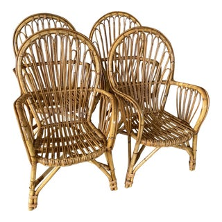 Restored Vintage Franco Albini Rattan Chairs-Four For Sale