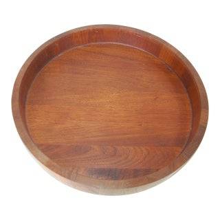 1960s Mid Century Teak and Stainless Steel Salad Serving Bowl Cobblewood Lundtofte Denmark For Sale