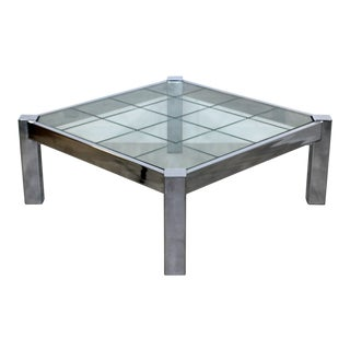 Pace Brueton Baughman Era Mid Century Modern Square Chrome Glass Coffee Table For Sale