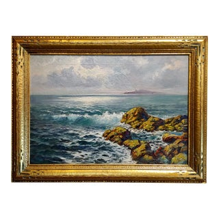 """1910's Vintage """"Rock & Surf at Sunset"""" Oil Painting by Paul Dougherty For Sale"""