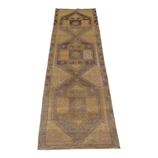 "1940's Vintage Turkish Hand-Knotted Runner-3'7"" X 12'5"" For Sale"