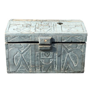 Vintage Tribal Carved Wood Trunk For Sale
