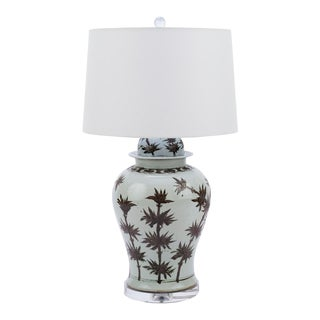 Brown and White Bamboo Motif Porcelain Temple Jar Table Lamp with Shade For Sale