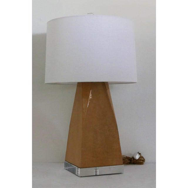 Animal Skin Karl Springer Style Vintage Goatskin Lamp For Sale - Image 7 of 7