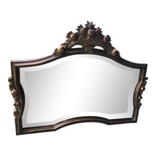Hollywood Regency Gold Gilt Curved Framed Wall Mirror