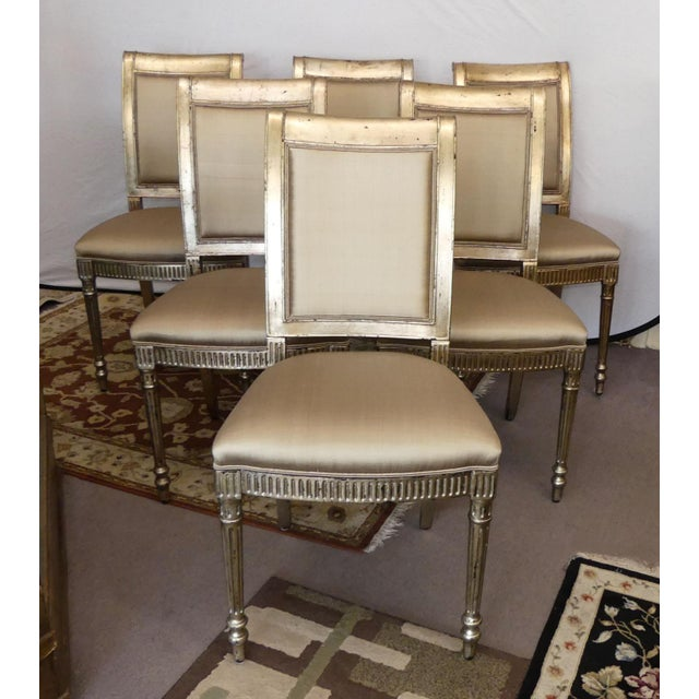 Theodore Alexander Silver Gilt Regency Dining Chairs Set Of 6