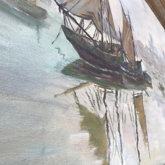 Mid-Century Sailboats in Harbor Framed Painting - Image 4 of 7