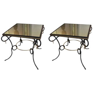 Pair of French 1940s Painted and Gilt Iron Tables With Ring Decoration For Sale