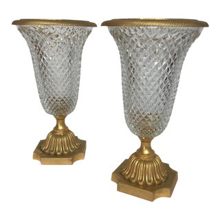 Pair of 1950s French Gilt Bronze and Glass Urns For Sale
