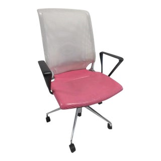 Alberto Meda for Vitra Meda Pink Leather & White Mesh Back Chair