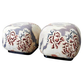 Pair of Cube Shaped Linen Ottomans or Poufs For Sale