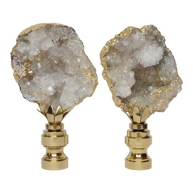 Gold Leaf Geode Crystal Finials - a Pair - Image 1 of 4