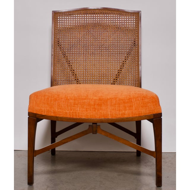 """Gold 1940s Antique """"American of Chicago"""" Mid-Century Modern Walnut & Cane Accent Chair With Side Table For Sale - Image 8 of 13"""