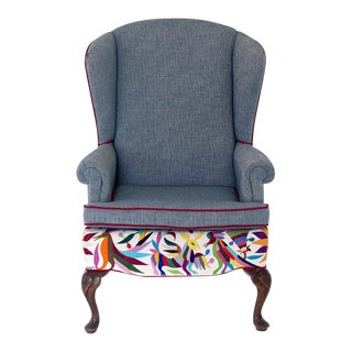 Vintage Oaxacan Otomi Upholstered Wingback Chair