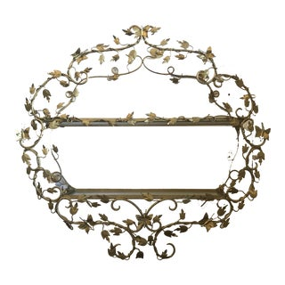 Hollywood Regency Gilded Butterfly Wall Shelf For Sale