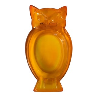 Vintage Glass Owl Ashtray For Sale