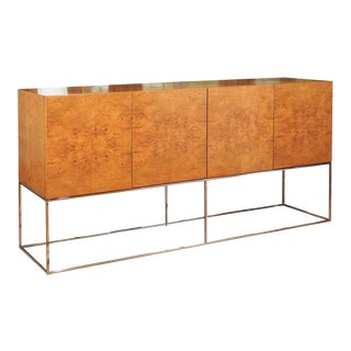 Exemplary Bookmatched Olivewood Tall Credenza by Milo Baughman for Thayer Coggin For Sale