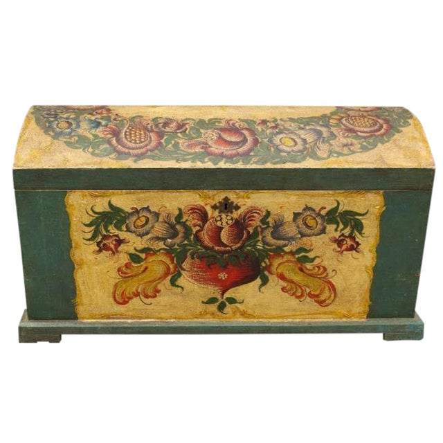 Dome-Top Hand-Painted Blanket Chest - Image 1 of 9