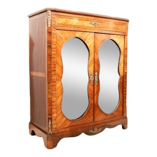 Late 19th Century Napoleon III Glass Front Tulipwood and Kingwood Cabinet For Sale