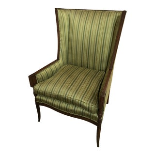 Vintage Mid Century Silk Wingback Accent Chair by David Atlanta For Sale