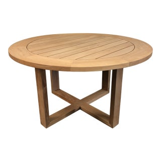 New Siena Round Teak Table by Manutti Belgian Outdoor Furniture For Sale