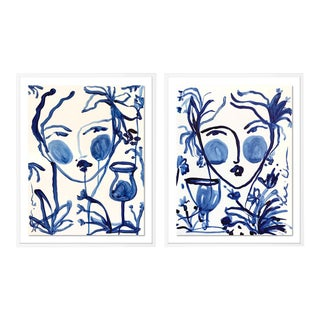 Flowers and Wine Diptych by Leslie Weaver in White Framed Paper, Medium Art Print - a Pair For Sale