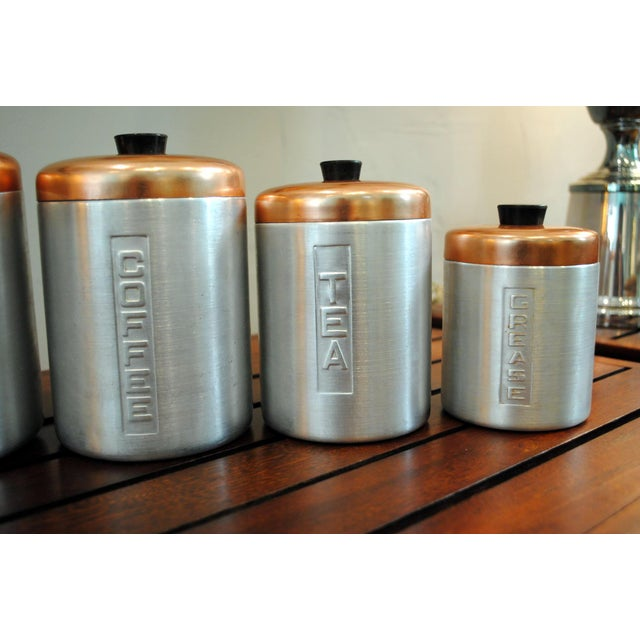 1950s Mid-Century Aluminum Nesting Canisters - Set of 5 For Sale - Image 4 of 6