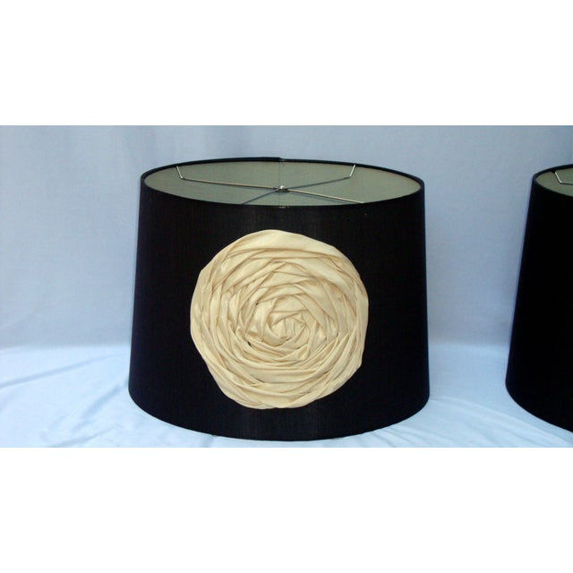 Modern Deco Glam Black Silk Floral Lampshades - Image 5 of 9