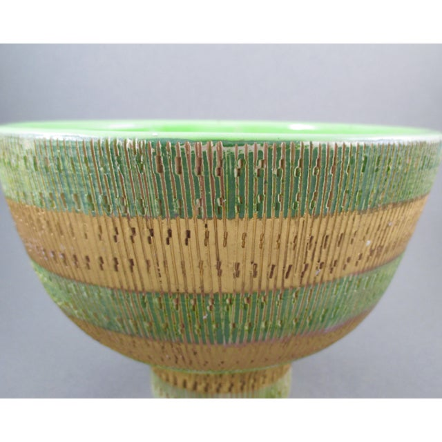 Bisotti Italian Green & Gold Footed Pottery Bowl - Image 4 of 6