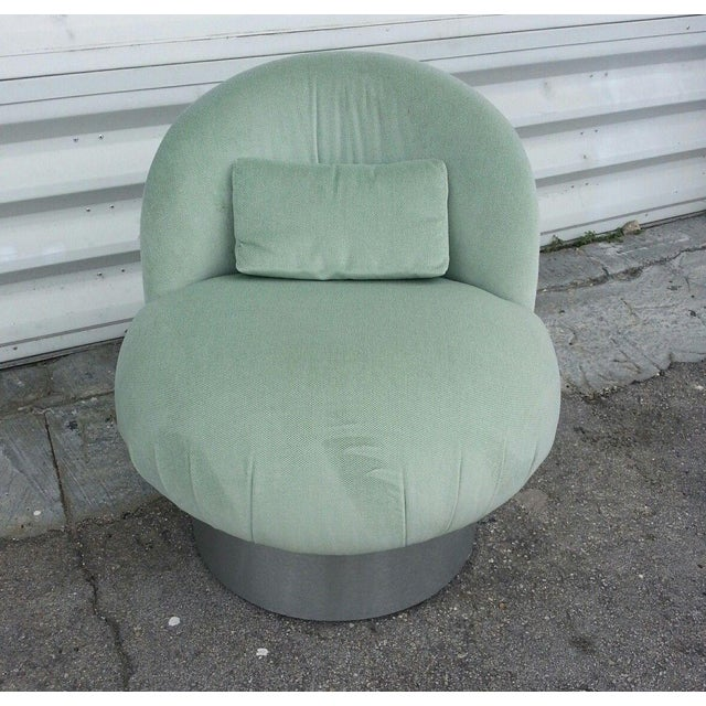1970s 1970's Hollywood Regency Green Swivel Vanity Chair For Sale - Image 5 of 8