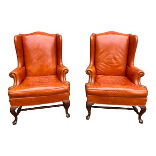 1960s Vintage Hickory Furniture Leather Wingback Chairs- A Pair For Sale